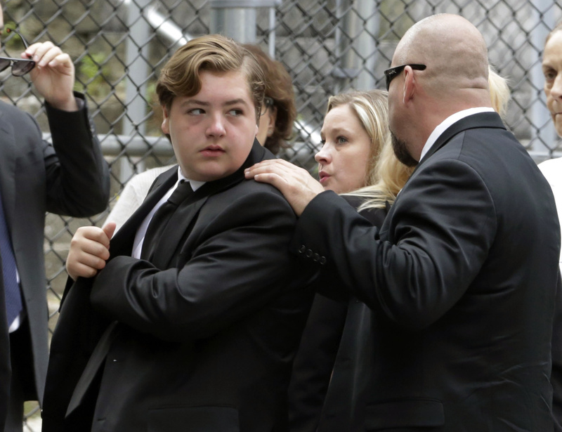 Michael Gandolfini, left, son of James Gandolfini, arrives for the funeral service of his father at the Cathedral Church of Saint John the Divine on Thursday.