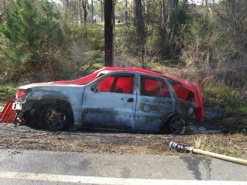 This Jeep Grand Cherokee was struck from the rear by a Dodge Dakota pickup truck in Bainbridge, Ga., in 2012, catching fire and killing 4-year-old Remington Walden.