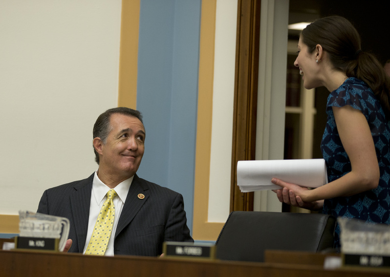 Rep. Trent Franks, R-Ariz., the main sponsor of an anti-abortion bill, talks to a staff member on Tuesday. The legislation would ban almost all abortions after a fetus reaches the age of 20 weeks.
