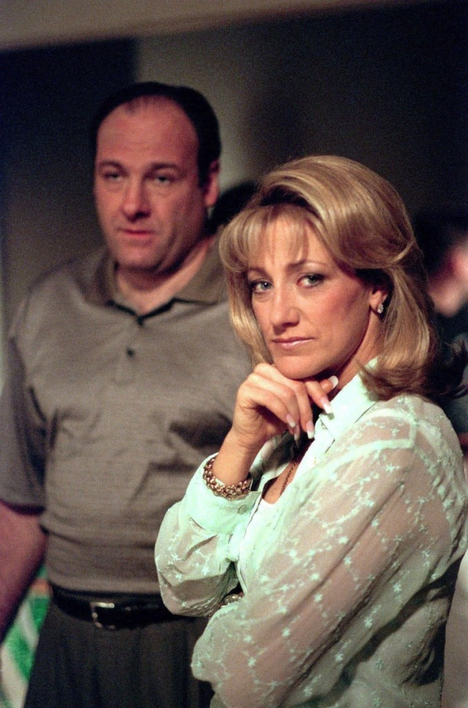 In this undated file photo, James Gandolfini and Edie Falco of the HBO drama series