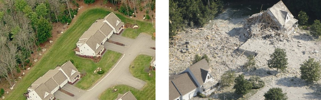 50-52 Gables Drive, pictured in aerial imagery from Bing Maps in 2006 (left), and after Tuesday morning's explosion (right).