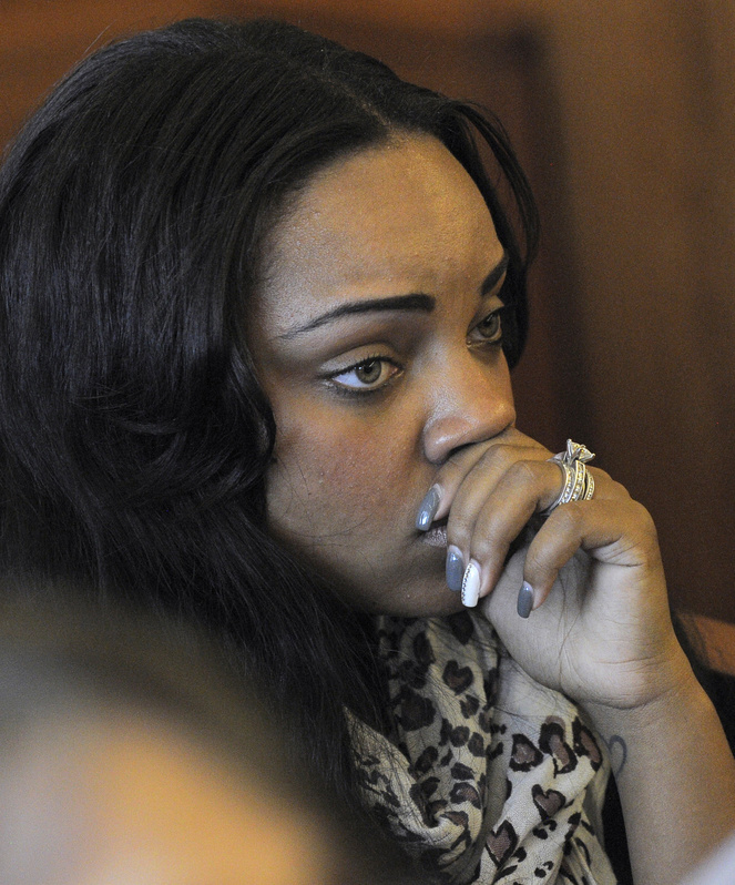 Shayanna Jenkins, fiancee of former New England Patriots football player Aaron Hernandez, listens in the courtroom during a bail hearing for Hernandez in Fall River Superior Court on Thursday in Massachusetts.