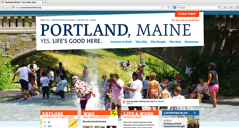 "The liveworkportland.org website, recently redesigned by the Creative Portland Corporation, prominently displays the ""Yes. Life's good here"" tagline in this June 18 screenshot."