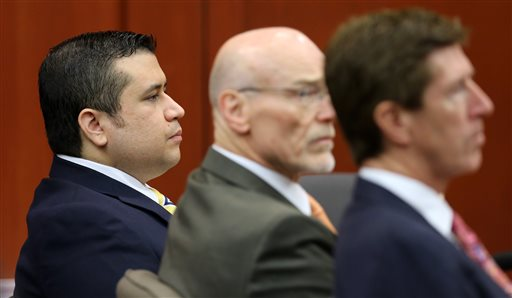 George Zimmerman, left, sits with his defense lawyers, Don West, center, and Mark O'Mara, during the 15th day of his trial in Seminole Circuit Court in Sanford, Fla., Friday.