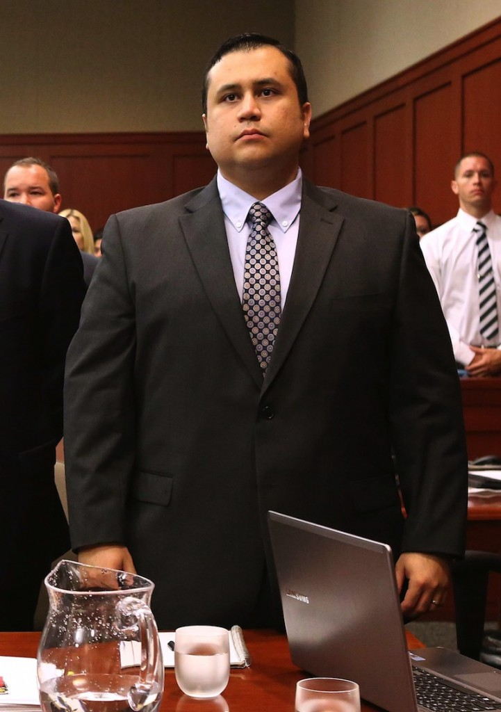 George Zimmerman stands as judge Debra Nelson arrives in Seminole circuit court for his trial, in Sanford, Fla., Monday, June 24, 2013. Zimmerman has been charged with second-degree murder for the 2012 shooting death of Trayvon Martin. (AP Photo/Orlando Sentinel, Joe Burbank, Pool)