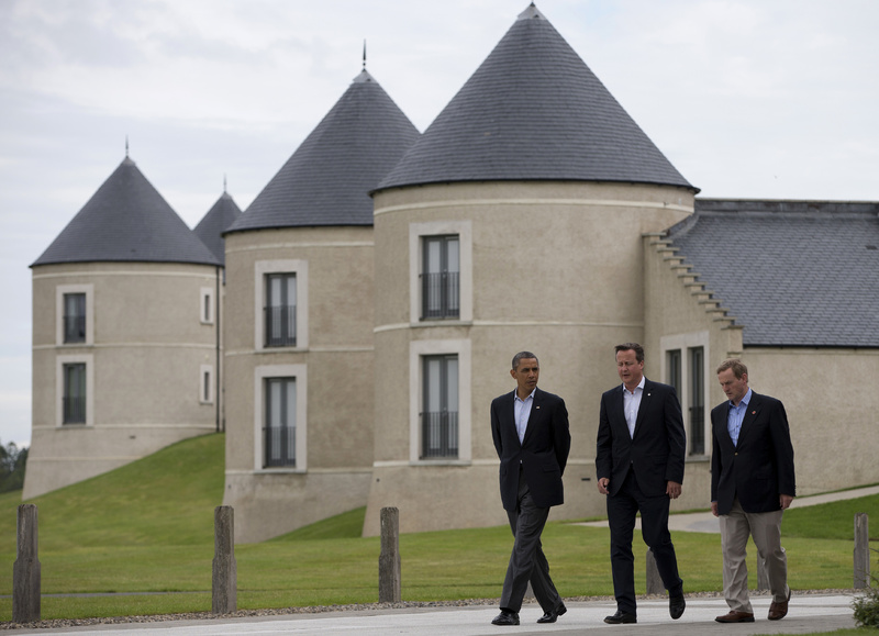 President Barack Obama walks with British Prime Minister David Cameron, center, and Irish Prime Minister Enda Kenny at the site of the G-8 summit in Enniskillen, Northern Ireland, on Tuesday.