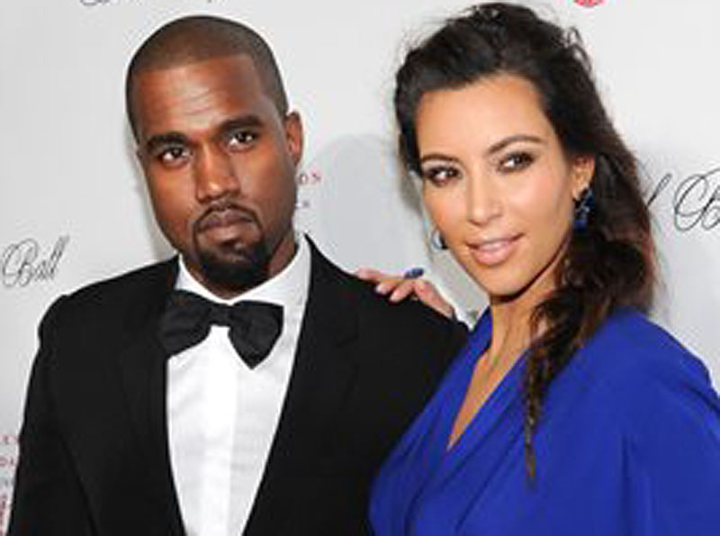 Kanye West and Kim Kardashian Half Length
