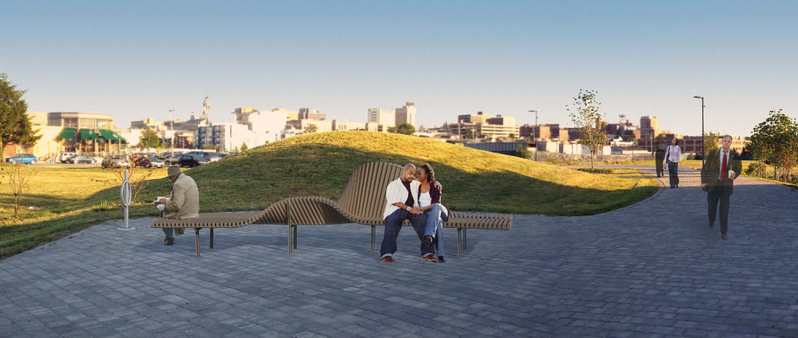 The illustration by Skye Design Studio Ltd. shows its proposal for a bench alongside the Bayside Trail in Portland.