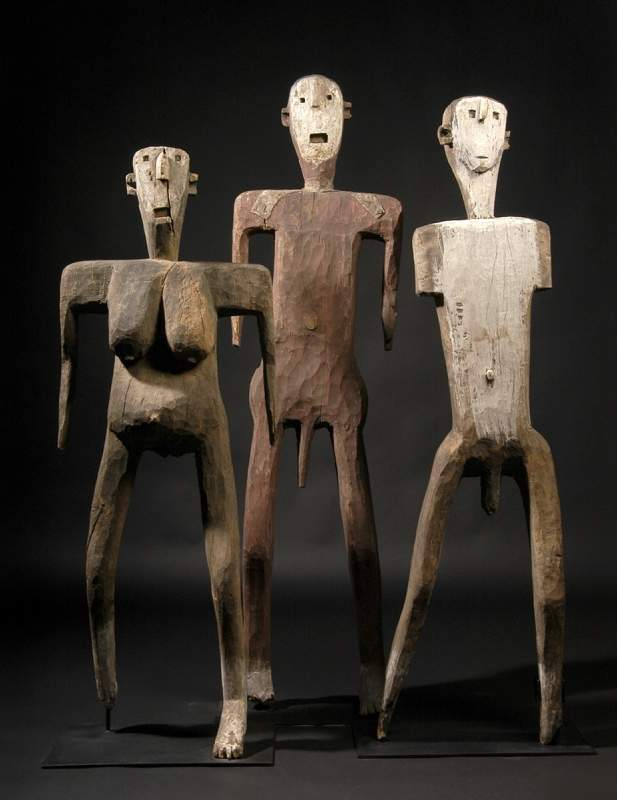 "From Sukuma, Tanzania, ""Dance figures,"" no date, wood, metal, pigments."