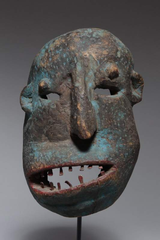 "From Sukuma, Tanzania, ""Lyako Mask,"" no date, wood, metal, pigment."