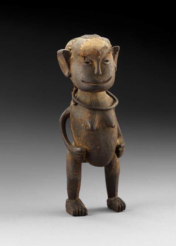 "From Shambaa, Tanzania, ""Figure,"" no date, wood and hide."