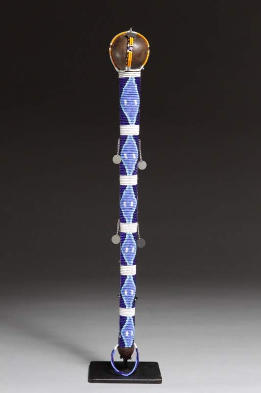 "From Massai, Tanzania, ""Staff,"" no date, wood, glass, seeds, beads, thread and metal."