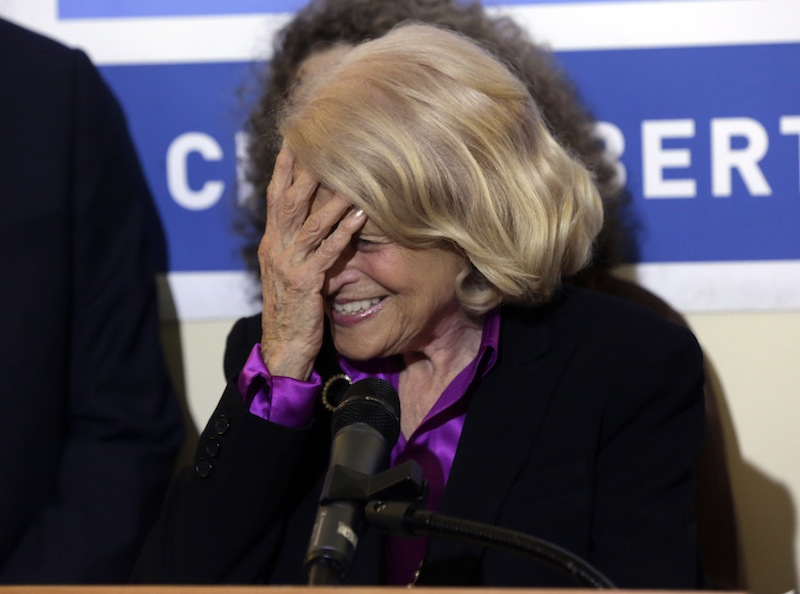 Edith Windsor, the plaintiff in the historic gay marriage case that was before the U.S. Supreme Court, reacts during a news conference at the LGBT Center, in New York, Wednesday, June 26, 2013. In a major victory for gay rights, the U.S. Supreme Court on Wednesday struck down a provision of a federal law denying federal benefits to married gay couples and cleared the way for the resumption of same-sex marriage in California. (AP Photo/Richard Drew)