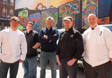 The 2013 Taste of the Nation Maine Chef Committee, from left: Larry Matthews, Back Bay Grill; Lee Skawinski, Vignola Cinque Terre; Sam Hayward, Fore Street; Steve Corry, Petite Jacquline and Five Fifty-Five; Jeff Landry, The Farmer's Table
