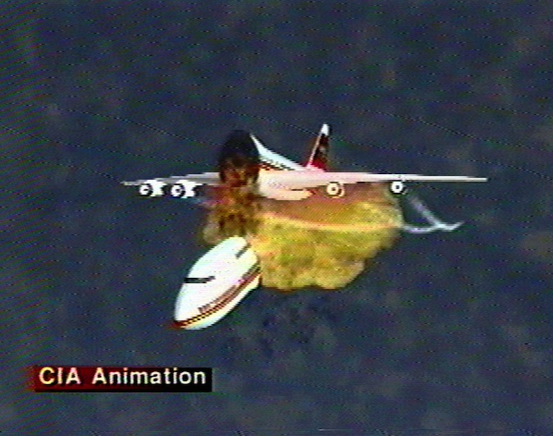 This file graphic image, provided by the Central Intelligence Agency, Dec. 9, 1997, shows an animation of the disintegration of Paris-bound TWA Flight 800 as it explodes off the coast of Long Island on July 17, 1996. The video was used to explain eyewitness accounts of the explosion, which killed all 230 people aboard. Former investigators on Wednesday, June 19, 2013 called on the National Transportation Safety Board to re-examine the cause, saying new evidence points to the often-discounted theory that a missile strike may have downed the jumbo jet. (AP Photo/Central Intelligence Agency, File)