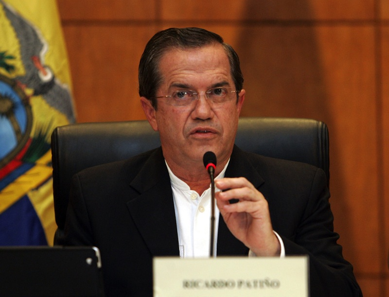 Ecuador Foreign Minister Ricardo Patino speaks to reporters in Hanoi, Vietnam on Monday June 24, 2013. Patino said that he did not know where National Security Agency leaker Edward Snowden is. Snoweden had a seat booked Monday on a plane flying from Moscow to Cuba, but there were no signs he was aboard the plane. Patino, on a visit to Vietnam, said Ecuador is considering an asylum request from Snowden. He did not go into details. (AP Photo/Tran Van Minh.)