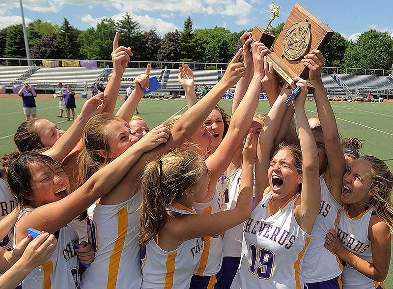 The Cheverus girls did what no previous lacrosse team had done for the Stags – lift the trophy for winning the Class A championship. Cheverus defeated Massabesic 8-7 in the state final Saturday at Fitzpatrick Stadium.