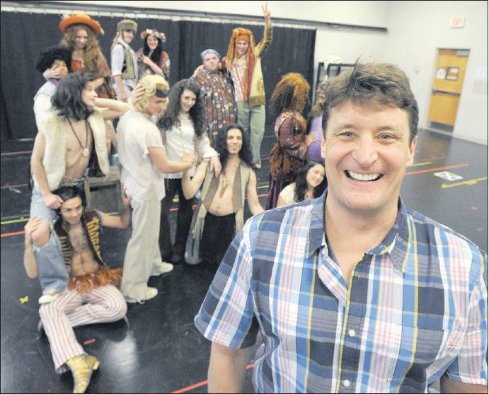 "Curt Dale Clark is the consulting artistic director of the Maine State Music Theatre in Brunswick, seen here working with the cast of ""Hair."""