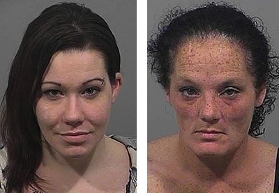 Crystal Miller, left, and Heidi Stevens were charged with assaulting another inmate at Cumberland County Jail.