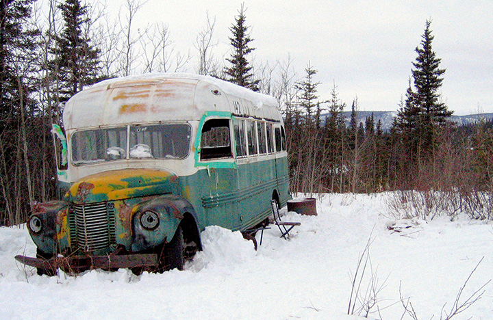 The abandoned bus where Christopher McCandless starved to death in 1992 is seen in this March 21, 2006, photo on the Stampede Road near Healy, Alaska.
