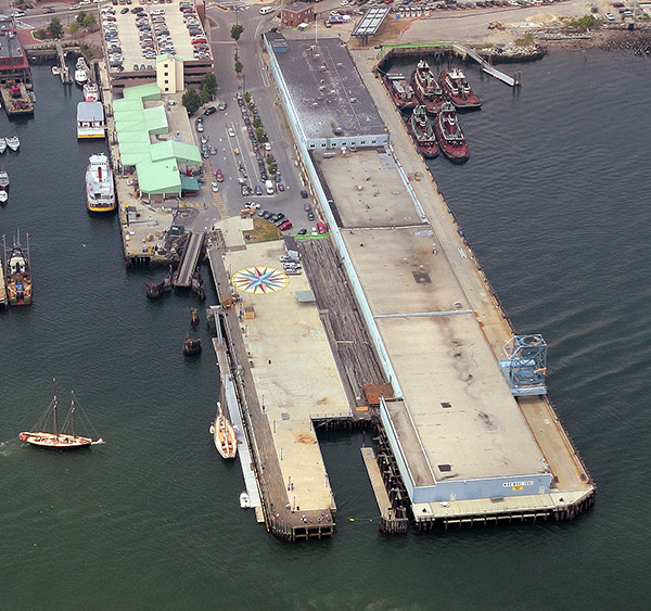 An aerial view of the Maine State Pier on the Portland waterfront.