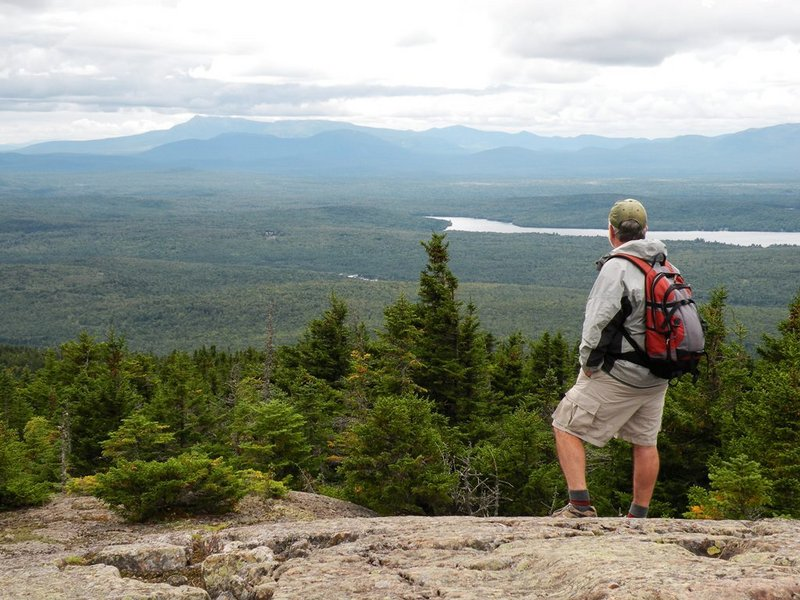 Open rock ledges atop Mount Chase afford outstanding views ranging from Katahdin to Traveler, and include a multitude of other hills north of Baxter State Park.
