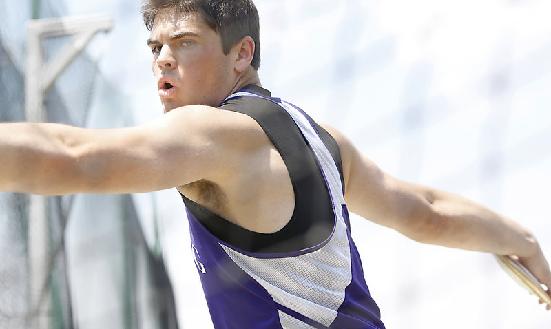 Deering's Jared Bell, who is heading to Princeton, broke the Class A record in the discus by nearly 3 feet with a throw of 176 feet, 7 inches.