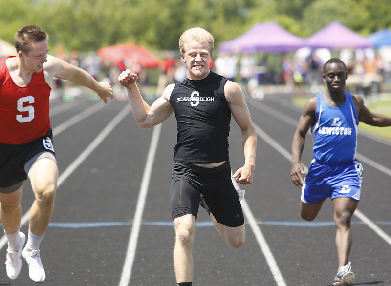 Ryan Jamison was a hero Saturday for Scarborough, a former Class B power, as it won the Class A outdoor track title for the first time. Jamison, winning the 100 in 11.18 seconds, also took the 200 in 22.89 and was part of two point-worthy relay teams.