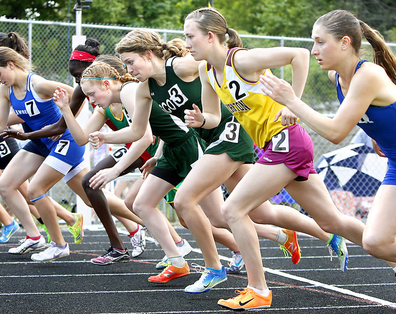 Erzsie Nagy, right, of Lawrence was the eventual winner of the girls' 1,600. Next to her is Charlotte Pierce of Thornton Academy (fourth), Sam Cox of Bonny Eagle (third) and Kialeigh Marston of Bonny Eagle (second).