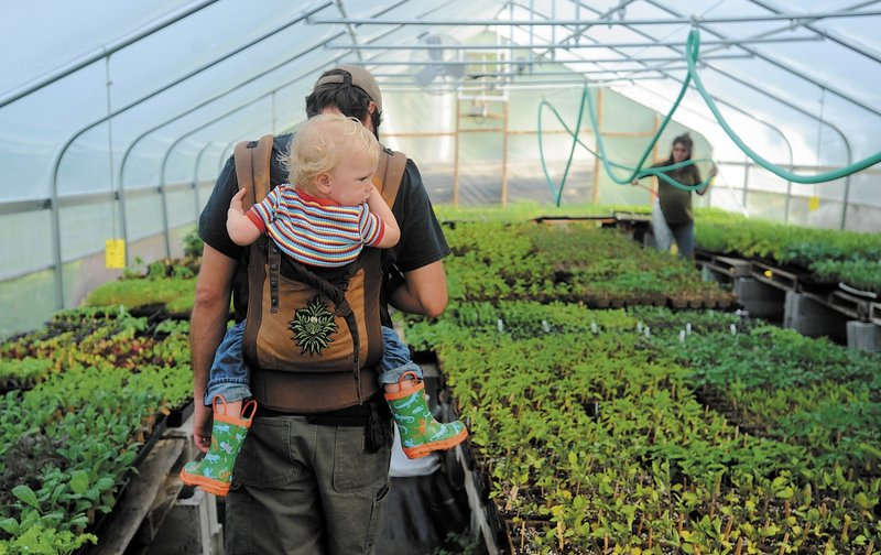 Andrew Mefferd walks through One Drop Farm's plant nursery with his son, Jasper, 22 months. He and his wife, Ann Mefferd, started their certified organic farm in 2008.