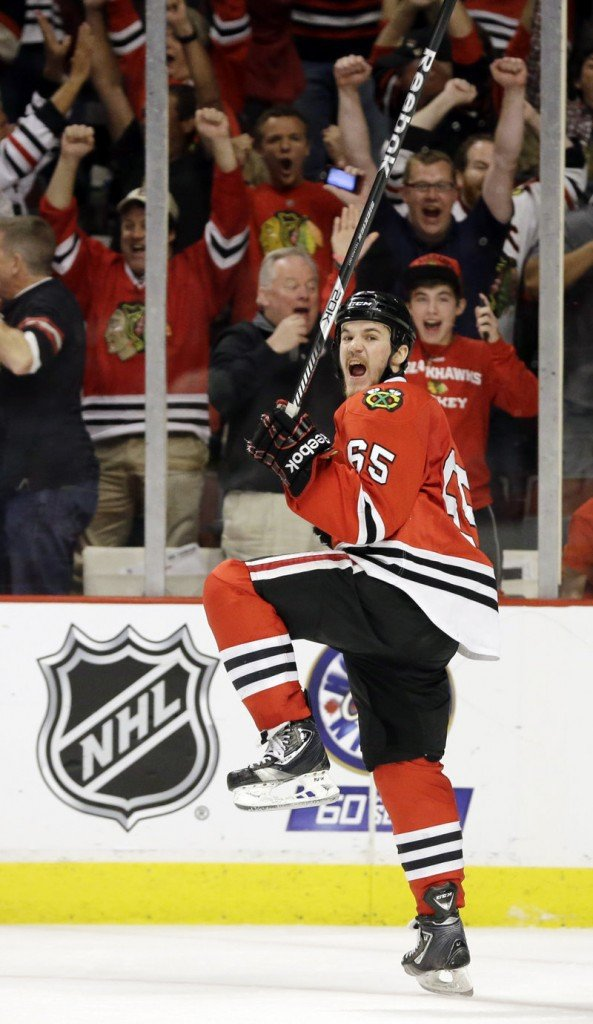 Andrew Shaw's overtime goal gave the Blackhawks a leg up over the Bruins in the Stanley Cup finals.