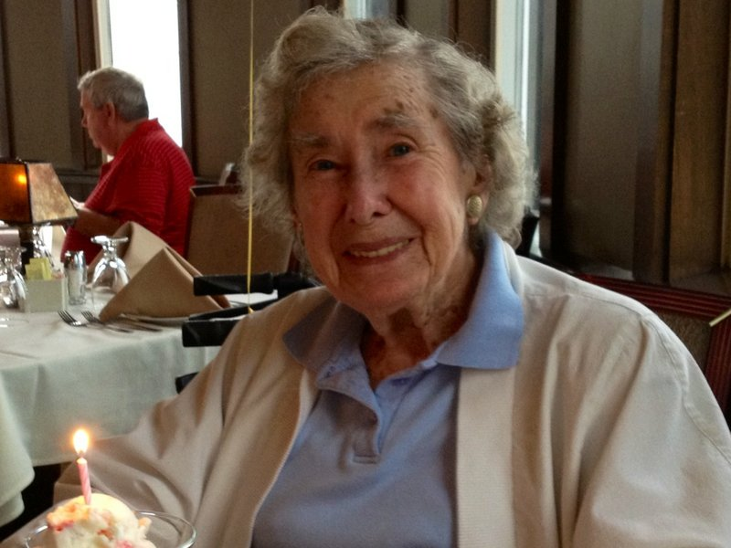 Mary McCarvel on her 90th birthday last August at Dimillo's Restaurant in Portland.