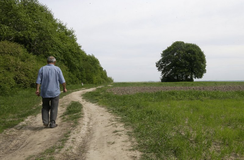 In photo taken May 10, Ivan Hrushka, 69, approaches the site of a peasant house – under trees in the distance on the right – where 21 people, including nine children, were burned alive on Dec.3, 1943, in his home village of Pidhaitsi close to Ukraine's western city of Lutsk.