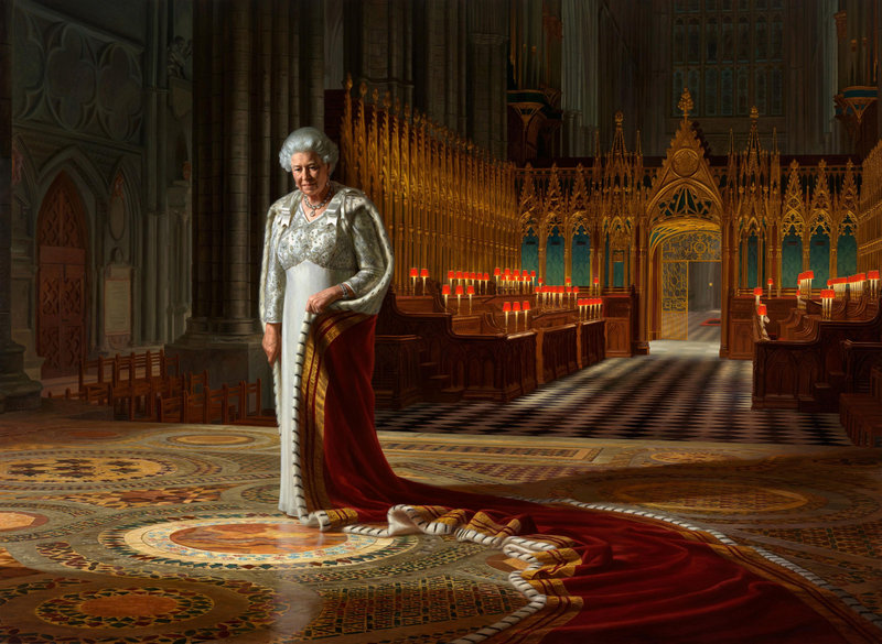 "This photo shows ""The Coronation Theatre, Westminster Abbey: A Portrait of Her Majesty Queen Elizabeth II, 2012,"" which was commissioned to mark her 60 years on the throne. A member of a protest group has been charged with spraying paint on the portrait."