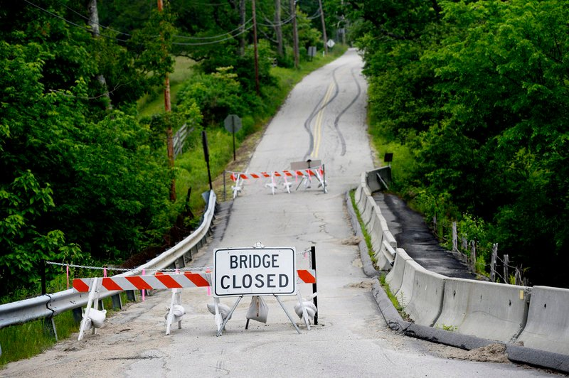 The Stackpole Bridge on the Simpson Road in Saco is closed to traffic until it is repaired or replaced. Last week, voters rejected a $1.7 million bond for repairs to the 150-year-old span.