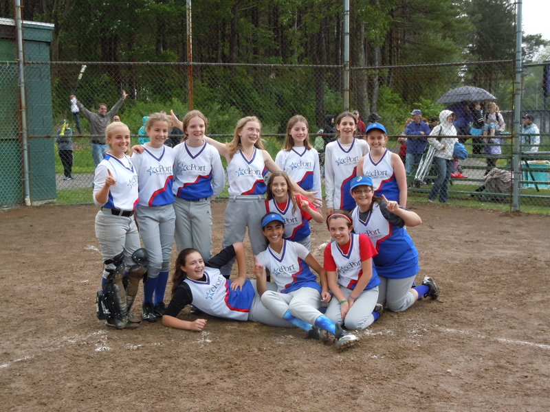 CPort Federal Credit Union of Portland North beat Play It Again Sports of Deering 8-4 on June 12 to win the city Little League softball championship. CPort team members, from left to right: Front – Mikayla Fortin, Jessica Brown, Hannah Collom, Sydney Robinson and Dela Bernard; Back – Grace Stacy, Terryn MacDonald, Emma Armstrong, Cally Serefs, Emily Bassford, Alexiis Fiore and Meghan Flaherty.