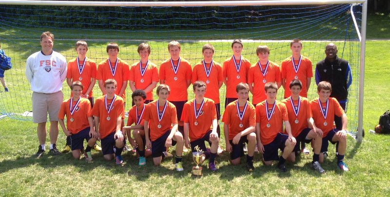 The FSC Riptide U15 soccer team won their age bracket at the Needham Memorial Day Tournament in Massachusetts. Riptide team won all five of their matches against teams from Rhode Island, New York, Massachusetts and Connecticut. Team members, from left to right: Front – Hayden Farr, David Costello and Andrew Muscadin of Falmouth; Jason Nielsen of Windham; Devin Day of Porter; Evan Villacci of Falmouth; Jeffrey Pollard of Raymond; Tyler Skvorak of Windham; and Topher Pidden of Yarmouth. Back – Coach Ron Giroux of Windham; Patrick Sanderson of Westbrook; Cam Tracey of Gorham; Ryan Lutrzykwoski of Winthrop; Gene Gumaer and Austin Farwell of Windham; Olin Rhoads of Falmouth; Chris Beckwith of Windsor; Kent Mohlar of Readfield; and Coach Josh Muscadin of Falmouth. Not pictured: Nick Sanzari, Nigel Dunn and Harrison Pearl of Falmouth; Connor Perry of Augusta; and Riley Brennan of Portland.