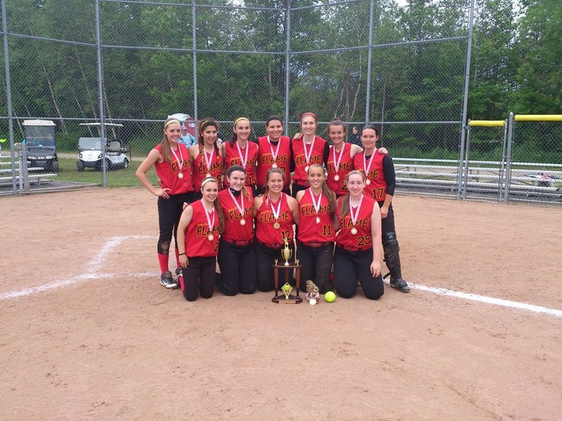 The Southern Maine Flame U18 softball team won the Southern Maine Diamond Challenge Class A softball tournament on Sunday. The Flame went 6-0 in the tournament, giving up only eight runs in six games. Team members, from left to right: Front – Bailey Tremblay, Michaela Willwerth, Olivia Indorf, Brooke Cross, Samantha Dibiase. Back – Taylor Lux, Gianna Riccardi, Samantha Crosman, Meghan Dube, Paige Carter, Sierra Muchie, Aleisha Cross.