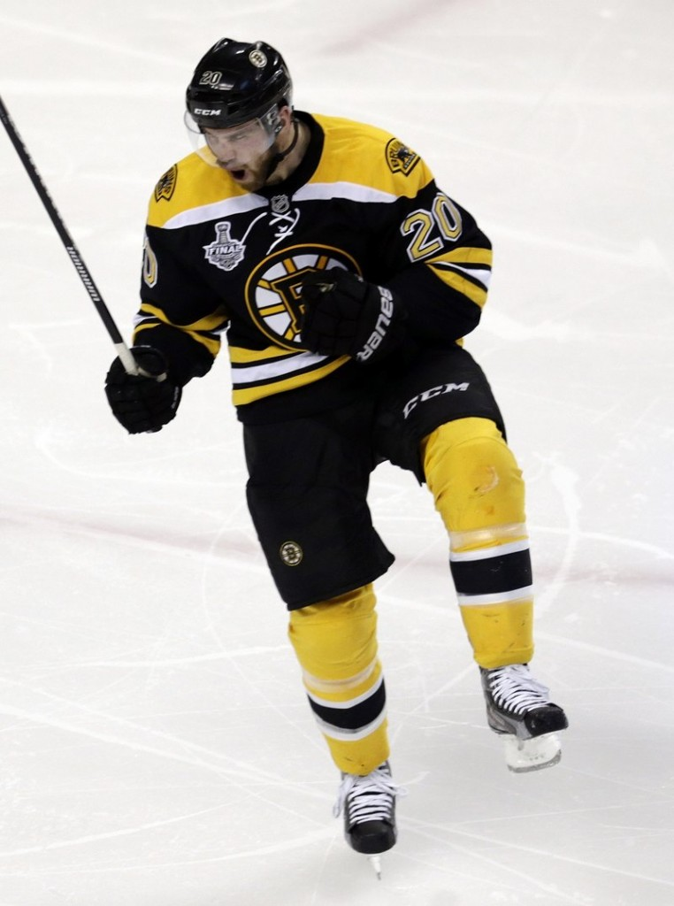 Daniel Paille is, shall we say, a little excited after scoring early in the second period Monday night to break a scoreless tie in Game 3 of the Stanley Cup finals in Boston. The Bruins won, 2-0.