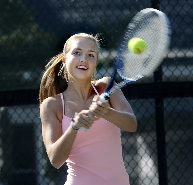 Meghan Kelley has moved up in the tennis world since winning the Betty Blakeman Memorial as a 12-year-old in 2010, and has opted for the junior circuit instead of high school competition.