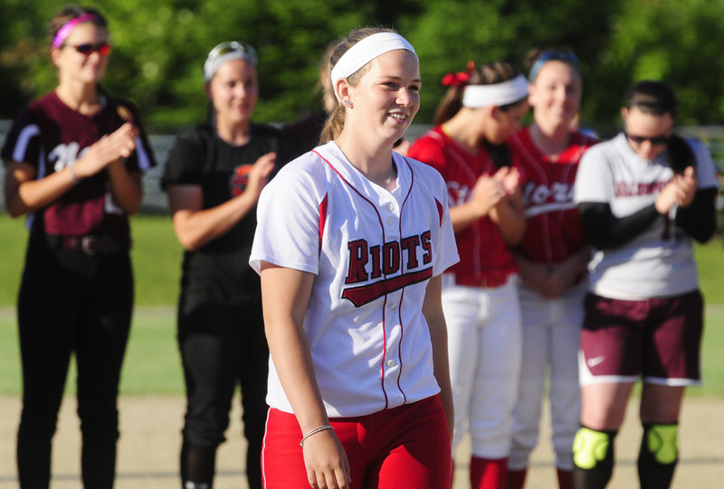 Danica Gleason of South Portland receives applause after being named the winner of the annual Miss Maine Softball award Thursday.