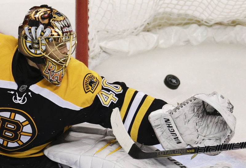 Boston goaltender Tuukka Rask was working on a long shutout streak until Wednesday when the Blackhawks put six pucks past him for a 6-5 OT win that evened the series.