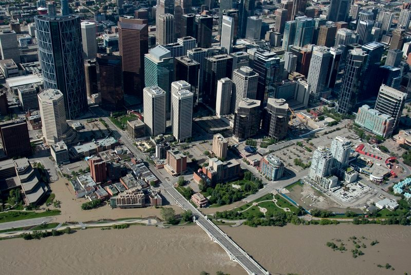 A flooded downtown Calgary, Alberta, is seen from the air Saturday. The two rivers that converge on the western Canadian city are receding after flooding devastated much of southern Alberta province, causing at least three deaths and forcing thousands of people to evacuate.