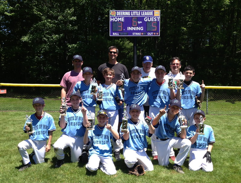 State of Mind Design of Portland North Little League won the Portland City Championship on June 15 with a 5-3 victory over Quality Shop of Deering Little League. Team members, from left to right: Front – Corey Zima, Steve Guaciaro, Max Brown, Dante Tocci, Jake Lowe and Sam Sparks; Middle – Bay Smalley, Alex Brewer, Donato Tocci, Bobby Ridge and Ben Haas; Back –Coaches Chris Brewer, Jay Lowe, Ron Farr and Ron Smalley.