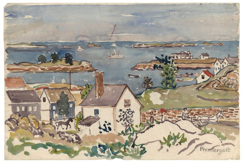 """Harbor Village,"" ca. 1916-1919, watercolor and pencil."