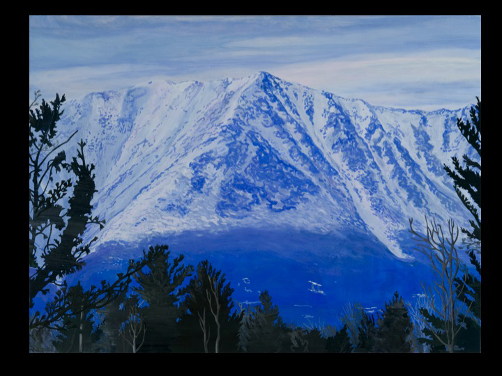 """First View (Katahdin)"" by Veronica Cross, from ""Gift of Glacier: The Maine Landscape,"" paintings by 23 Maine artists, continuing through Oct. 15 at the L.C. Bates Museum in Hinckley. An artist reception will be held from 2 to 4 p.m. Sunday."