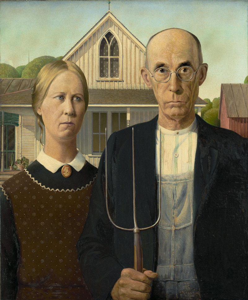 """Grant Wood's iconic """"American Gothic."""""""