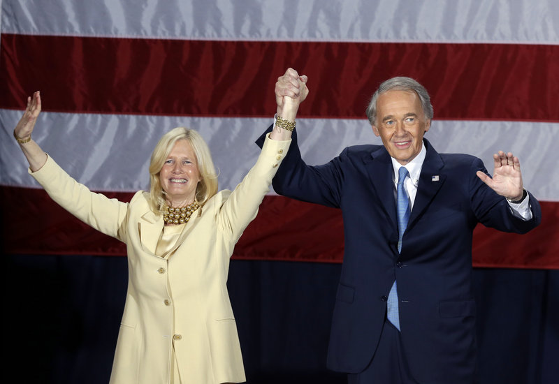 Democratic U.S. Rep. Edward Markey, with wife Dr. Susan Blumenthal, takes the stage to celebrate his victory in the Massachusetts special election for the U.S. Senate at his campaign party Tuesday, June 25, 2013, in Boston. Markey defeated Republican candidate Gabriel Gomez for the Senate seat vacated by Secretary of State John Kerry. (AP Photo/Elise Amendola)