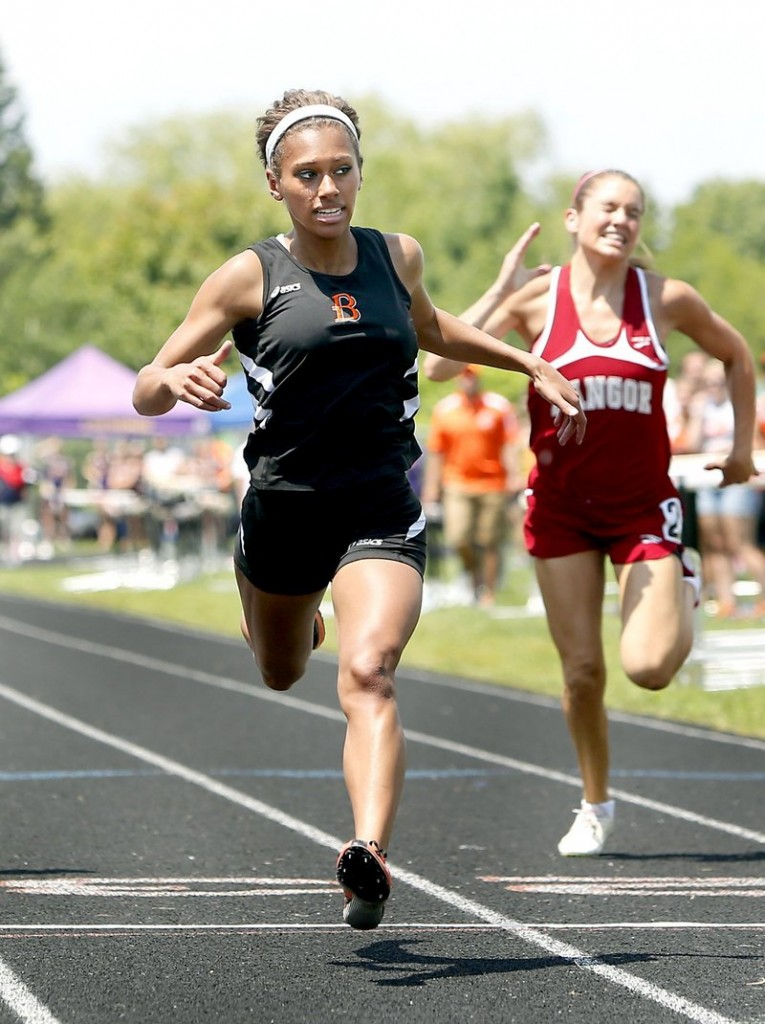 On her way to a 4-for-4 day at the Class A state championships, Teal Jackson of Brewer smashed a 19-year-old state record for 400 meters.