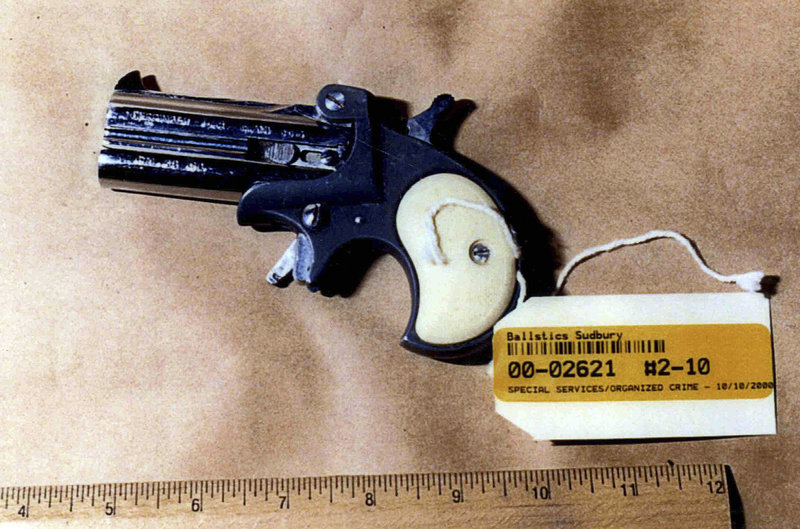 "This photo of a gun was presented as evidence during the trial of James ""Whitey"" Bulger in U.S. District Court in Boston."